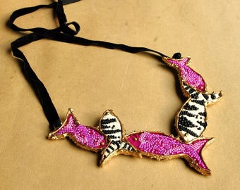 Statement, mixed media, oversized, hand embroidered, fabric textile art, beaded, beads embroidery, exotic necklace - Tropical fishes
