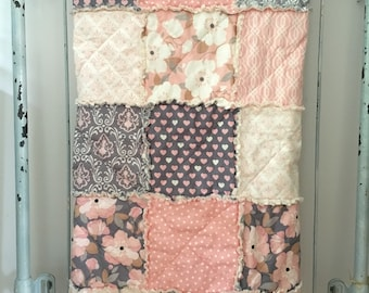 Crib Rag Quilt Baby Girl Crib Bedding Blush Pink Gray Nursery