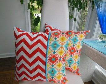Outdoor Pillow - Ikat Pillow - Screen Porch Pillow - Turquoise Pillow - Orange Pillow - Aztec Pillow - Orange Chevron Pillow - Patio Pillow