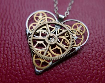 "Clockwork Heart Necklace ""Blake"" Steampunk Heart Pendant Industrial Organic Mechanical Watch Gear Love Gift Wife Girlfriend Present"