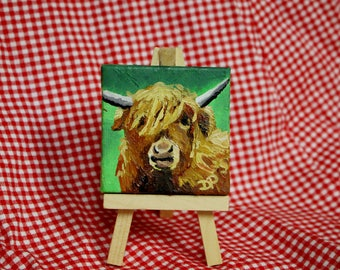 Miniature Canvas Highland Cow Cattle Oil Painting - Magnet