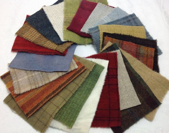 Winterberry Colors Applique Wool, 22 pieces, W420,  Christmas, Holiday, Winter Colors, Textures, Plaids, Stripes