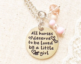 SIlver plated pendant necklace, unique gift for horse loving little girl, daughter, sister, all horses deserve to be loved by a little girl