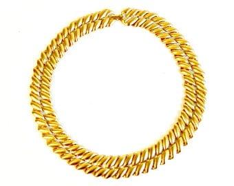Vintage Monet Necklace, Brushed Gold Tone Chain Link Choker, Satin Gold Monet Necklace