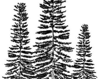Deep Red Rubber Cling Stamp Three Winter Pines Tree Cluster Forest