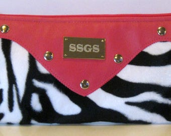 folding clutch bag pink leather black white faux fur