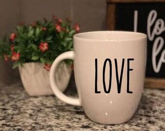 Rae Dunn Inspired Vinyl Decal - Coffee Mug - Love - Farmhouse