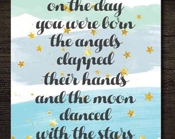 On the Day You Were Born Angels Stars Moon Nursery Decor Printable Artwork / 8x10 Instant Art Print