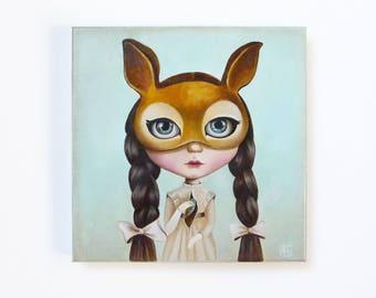 The birds sister, pop surrealism original oil painting, big eyed, queer art fairy tale, ooak blythe, girl portrait, turquoise painting