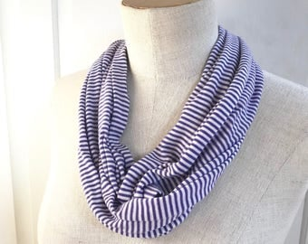 SALE Stretch Jersey Infinity Scarf. Purple and White Stripe.