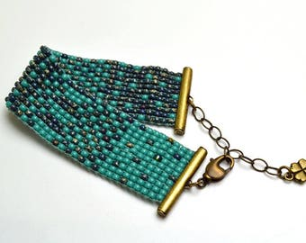 Loom Woven Turquoise Beaded Bracelet Cuff Brass Closure and Chain Lobster Clasp