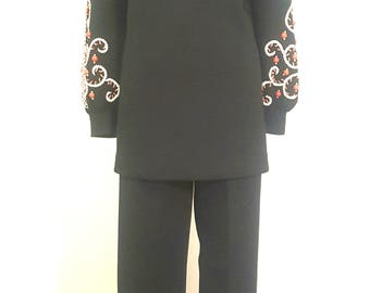 Vintage 1960s Lilli Ann Beaded Pantsuit Tunic Dress Bell Bottoms. So Good! 26 Waist.