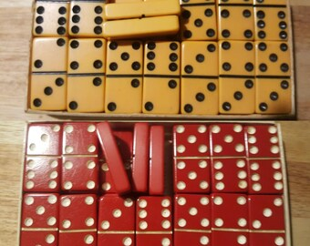 Vintage Thick Size Bakelite Dominoes Two Sets. One Red Set One Butterscotch. Jewelry Craft Repurpose