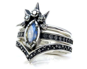 Labradorite Marquise Moon And Star Engagement Ring Set   Celestial Gothic  Wedding Rings   Sterling Silver