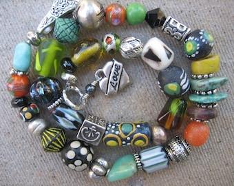15%off AFRICAN TRADE BEAD bracelet bold boho bracelet heart charm