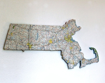 MASSACHUSETTS State Map Wall Decor   Vintage Map   State Decor   Gallery Wall   Perfect Gift for Any Occasion   Small Size