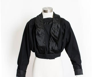 Victorian 1910s Blouse - Black Cotton & Silk Antique Edwardian - Medium