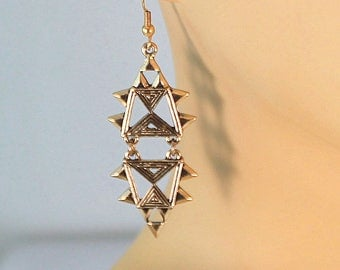 Gold earrings, art deco earrings, gold geometric earrings, statement earrings