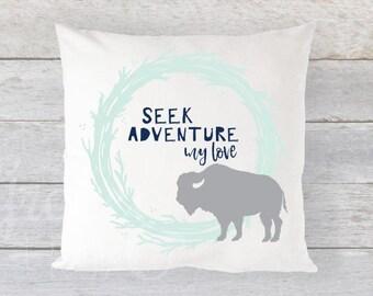 "FREE US SHIPPING Pillow Cover 16"" x 16"" - Seek Adventure, My Love // Rustic Wreath + Buffalo// Navy, Grey,  Mint"