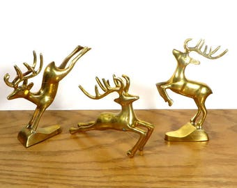 3 Brass Deer Figurnies Solid Brass Leaping Deer Whimsical Rustic Farmhouse Home Decor Cabin Decor Christmas Decorations