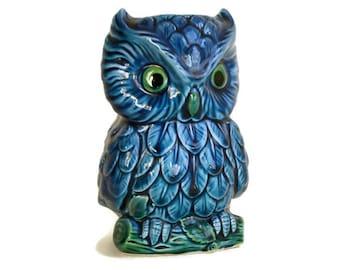Vintage Owl Planter, Inarco Mood Indigo, Japan Ceramic Vase, Owl Gift Decor, Bright Blue Green