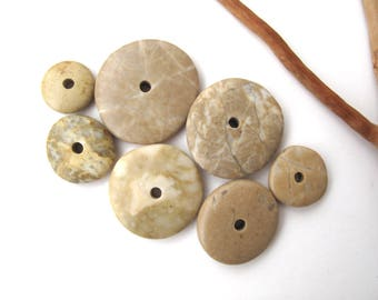 Natural Stone Cairn Mediterranean Beach Stone Stacks Pebble Rock Donut Beads River Stone Spacers TAN WHEELS 15-28 mm