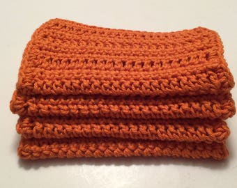 4 large dish cloths | dish rags | wash cloths made of 100% super soft Dishie cotton yarn Clementine