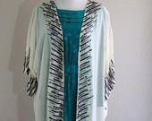 20% off for summer boho sheer caftan kimono with black & white beads and sequins- deadstock with tags- one size- RESERVED for gretchen!