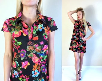 vtg 90s BETSEY JOHNSON neon floral Shirt DRESS Small/6 photo print mini dolly punk hipster grunge