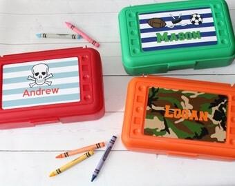 Personalized Pencil Box - Boys School Box - Art Box - Camo - Monsters - Sports - Crayon Box - Shark - Firetruck - Back to School - Boy
