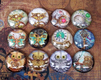 Steampunk Art Cabochons (L21) Jewelry and Craft Supply, Lot of 12, Digital Image Under Glass Cabochon, 25 mm size