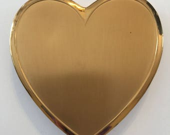 1950's Heart Shaped Compact Mirror With Heart Shaped Powder Puff