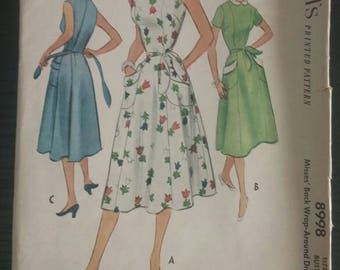 1952 McCall's 8998 Wrap Dress - Bust 32in