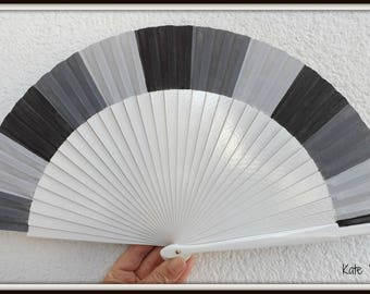 Three Tone Grey Gray 24cm  Flamenco Wooden Handheld Fan Hand Painted  in Spain by Kate Dengra
