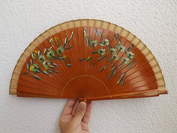 Pale Brown Traditional Floral Design Spanish Hand Fan Limited Edition