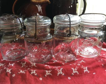 Ball glass top wire side canning jars set of four