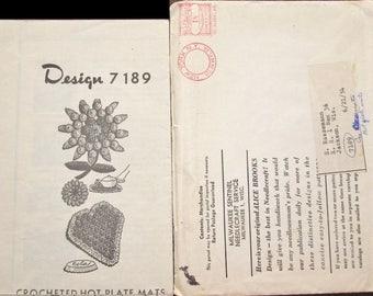 Vintage 1940s Design Mail Order Crochet Craft Pattern 7189 Crocheted Bottle Cap Hot Plate Mats Kitchen Potholder, Doily, Sunflower, Heart