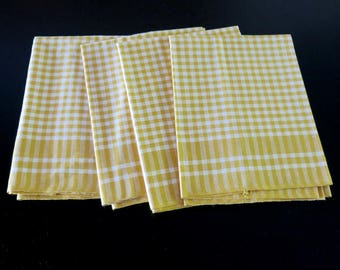4 Vintage Kitchen Towels White Saffron Check Linen Blend Made in Czechoslovakia 836b