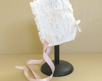 Vintage Lace Baby Bonnet Pink Ribbons Rows if Lace 219A
