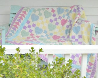 Sherbet Hearts Quilt Pattern by Curlicue Creations
