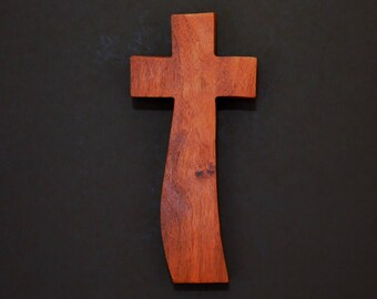 "Wooden Wall Cross; 4""x9""x1""; Rustic Cabin Decor;  Wall Cross Decor; Crooked Cross; Mesquite; Handmade;  Free Ground Shipping cc20-3121617"