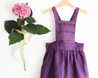 Back to school dress, girls clothing, girls pinafore dress, girls dungaree skirt, girls linen pinafore, girls skirt overalls, made in Italy