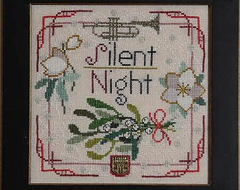 NEW Christmas Carol Silent Night cross stitch patterns INCLUDES embellishment by Tellin Emblem at thecottageneedle.com Trumpet mistletoe