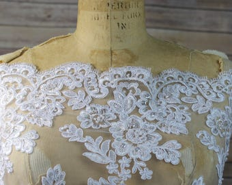 White Lace Fabric with floral pattern, White Faux Beads and scalloped edges. Bridal Wear,  Dresses, Gowns, Overlay for Skirts, Costumes
