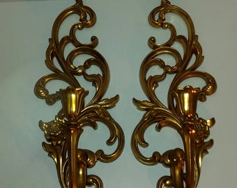 Vintage Hollywood Regency Syroco Gold Candleholder Candalabra Display Wall Hanging Sculpture Sconces
