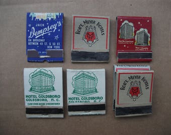Vintage 1940's Matchbook Covers, North & South Carolina Hotels Goldsboro, Robt. Meyers, Jack Dempseys, Front Strike matchbooks