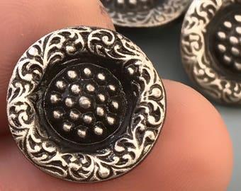 Vintage Battersea LTD flower  button- pewter button - collector button   N0.093