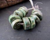 10 Small Verdigris Green Glazed Ceramic Washer Beads