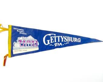 Vintage Souvenir Felt Pennant  / 1940s Gettysburg Pennsylvania Pennant