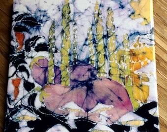 "Garden  Trivet  - "" Bounty from the Earth""   Ceramic tile  from an original batik by Carol"